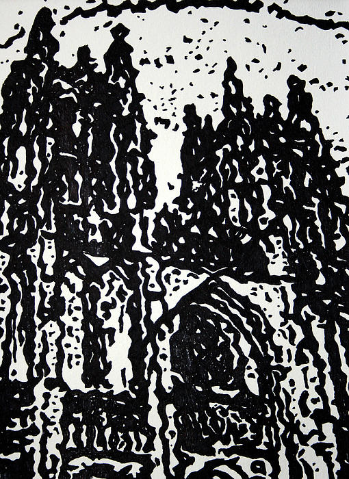 Black Cathedral Print by Oscar Penalber