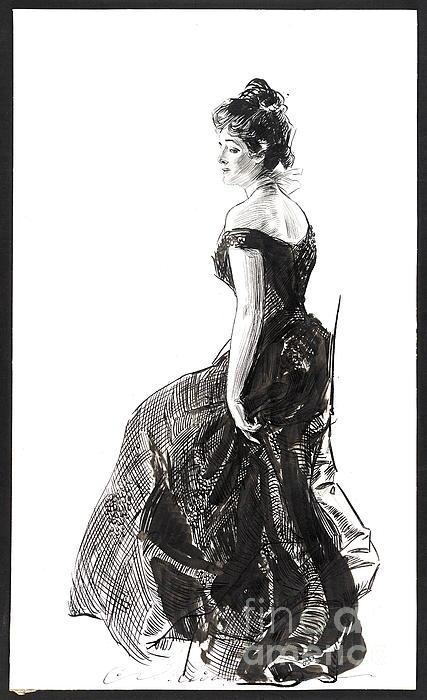 Black Evening Dress 1901 Print by Padre Art