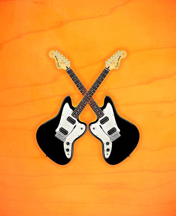 Black Fender Jaguar  Guitar Print by Doron Mafdoos