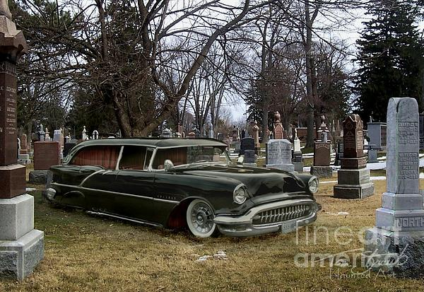 Black Hearse Print by Tom Straub