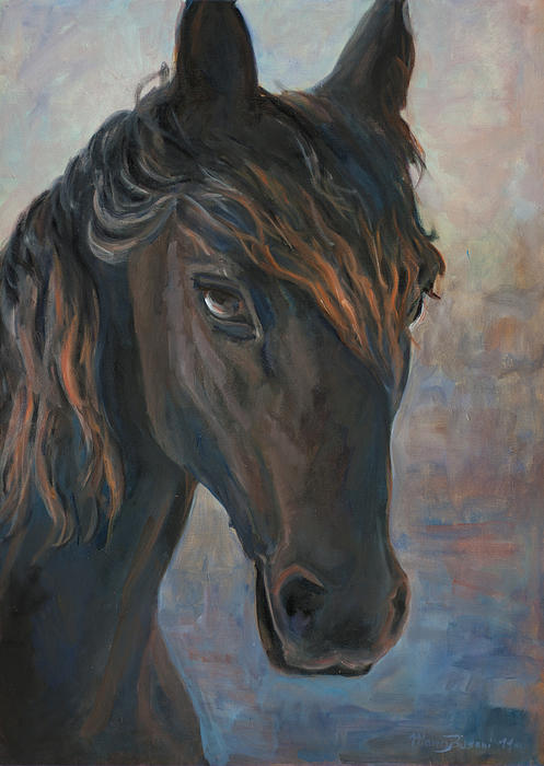 Black Horse Print by Marco Busoni