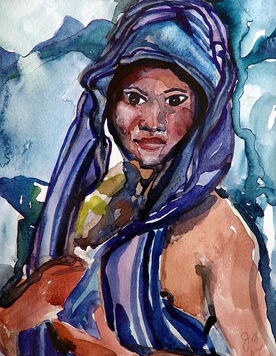 Black Lady No.13 Print by Janet Ashworth