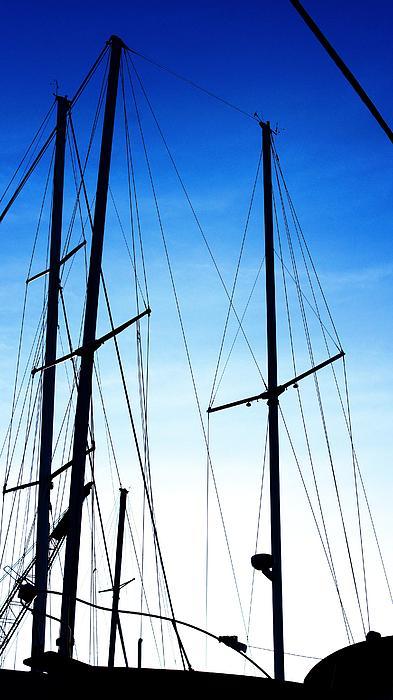 Black N Blue Hour Of Sailing Ships Print by Rosemarie E Seppala