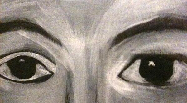 Black N White Eyes Print by Juliann Sweet