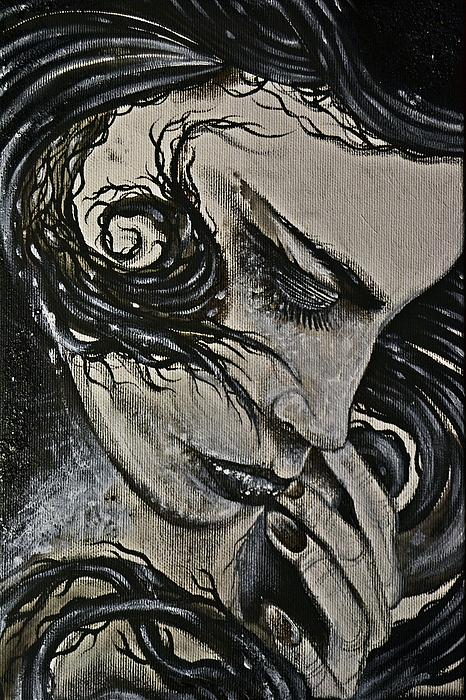 Black Portrait 4 Print by Sandro Ramani