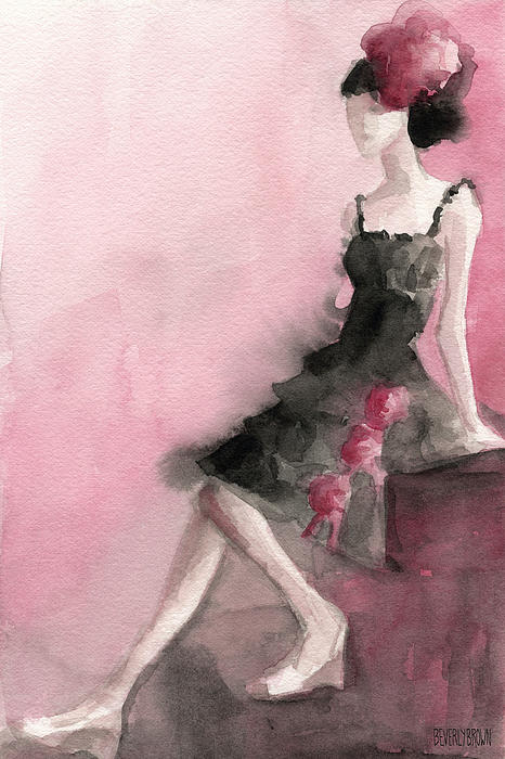 Black Ruffled Dress with Roses Fashion Illustration Art Print Painting