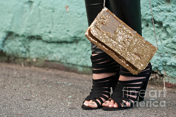 Black Shoes Gold Sequins Print by Rick Piper Photography