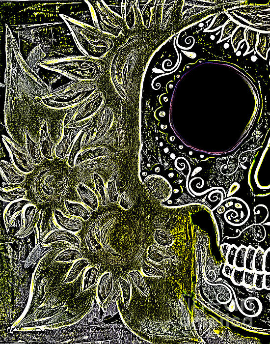 Black Sunflower Skull Print by Lovejoy Creations