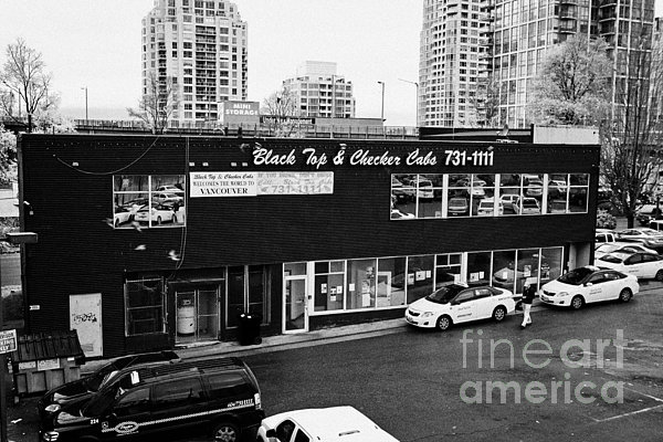 black top and checker cabs office Vancouver BC Canada Print by Joe Fox