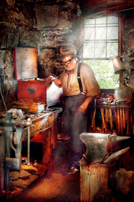 Blacksmith - The Smithy Print by Mike Savad