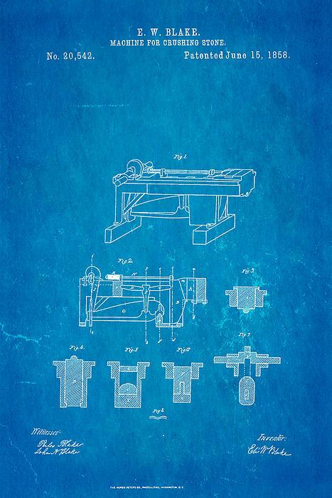 Blake Stone Crushing Patent 1858 Blueprint Print by Ian Monk