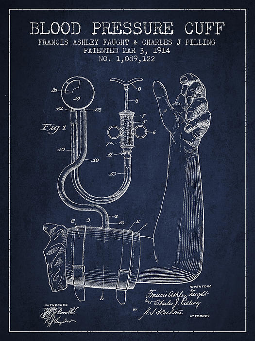 Blood Pressure Cuff Patent From 1914 Print by Aged Pixel