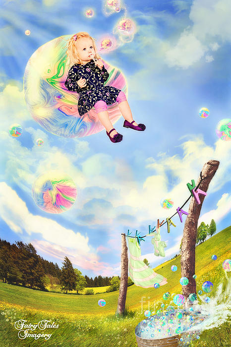 Blowing Bubbles Print by Fairy Tales Imagery Inc