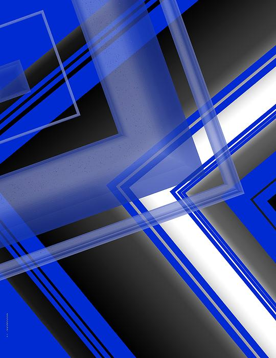 Blue And White Geometric Art Print by Mario  Perez