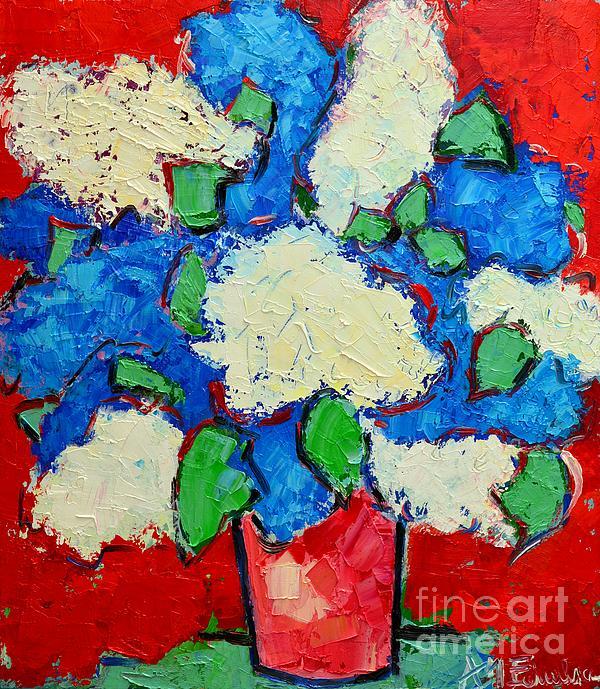 Blue And White Lilac Bouquet Print by Ana Maria Edulescu