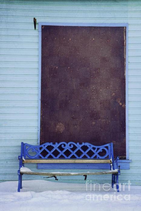 Blue Bench Print by Priska Wettstein