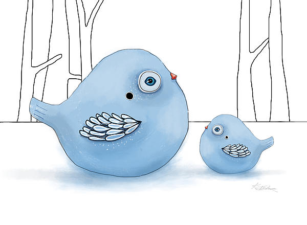 Blue Birds Of Happiness Print by Karin Taylor