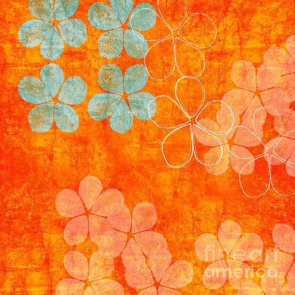 Blue Blossom On Orange Print by Linda Woods