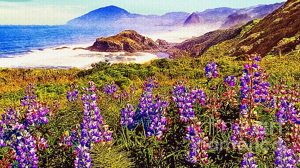 Blue Bonnets On Oregon Coastline Print by  Bob and Nadine Johnston