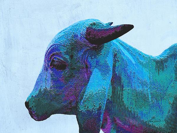 Blue Brahma Print by Ann Powell
