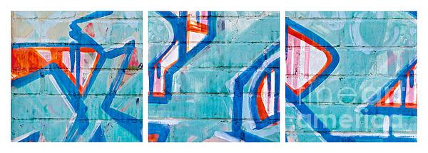 Blue Brick Graffiti Print by Art Block Collections
