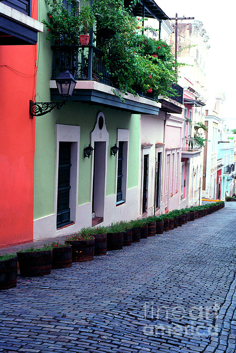 Blue Brick Street Old San Juan Print by Thomas R Fletcher