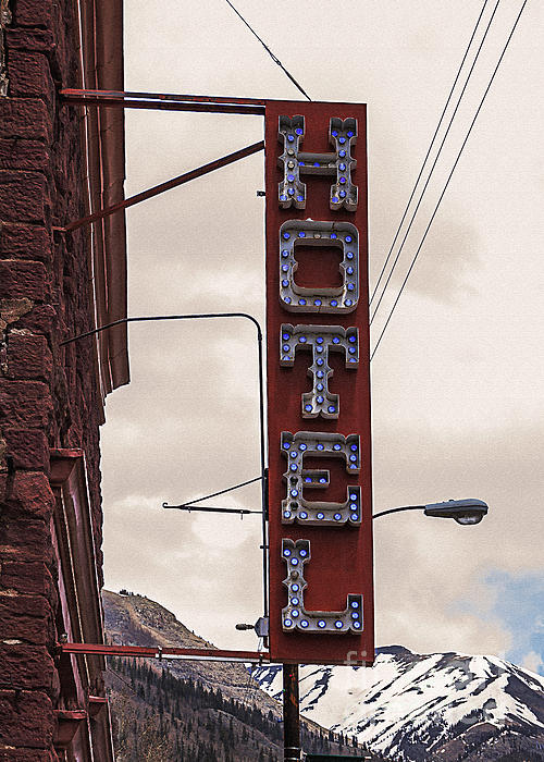 Blue Bulbs Hotel Sign Print by Janice Rae Pariza