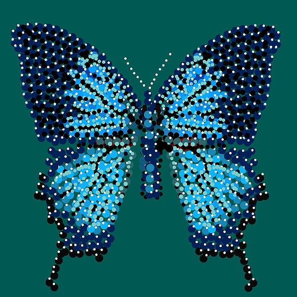 Blue Butterfly Green Background Print by R  Allen Swezey
