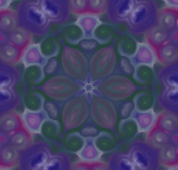 Blue Circle Mandala Print by Karen Buford