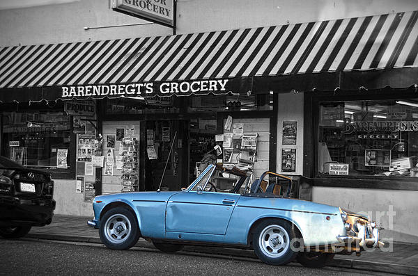 Blue Classic Car In Jamestown Print by RicardMN Photography