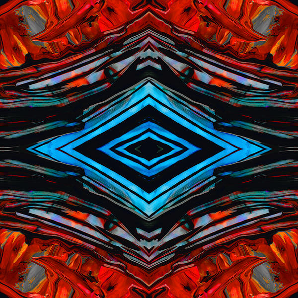 Blue Diamond Art By Sharon Cummings Print by Sharon Cummings
