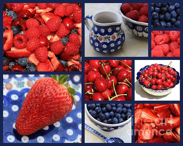 Blue Dishes And Fruit Collage Print by Carol Groenen