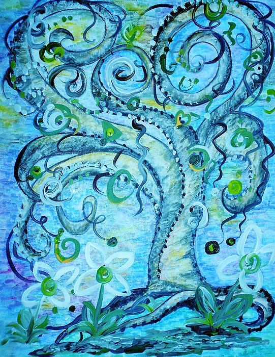 Blue Fantasy Tree Print by Eloise Schneider