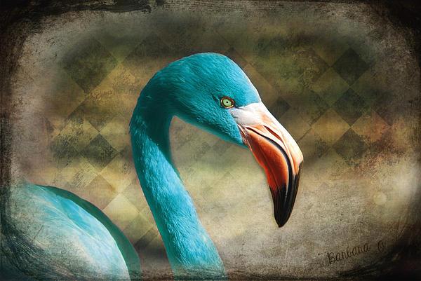 Blue Flamingo Print by Barbara Orenya