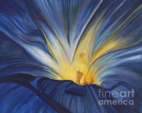 Blue Flower Center Print by Patty Vicknair