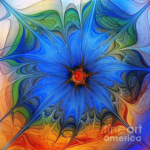 Blue Flower Dressed For Summer Print by Karin Kuhlmann