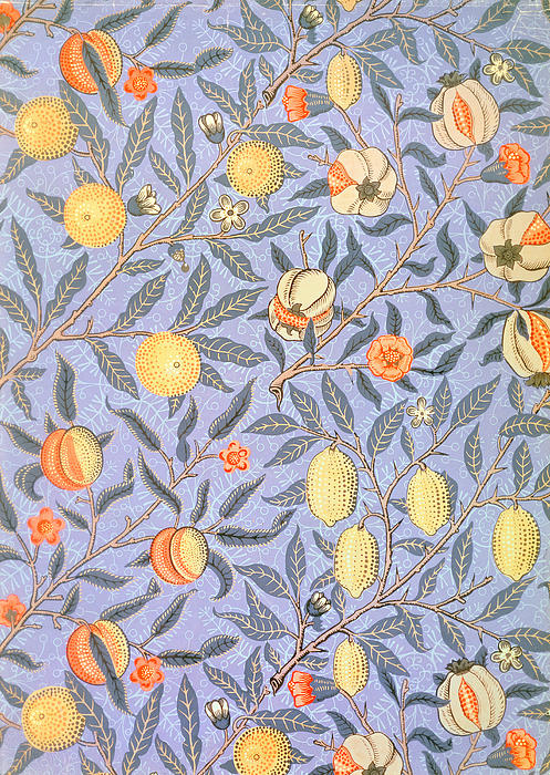 Blue Fruit Print by William Morris
