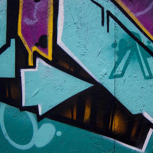 Blue Graffiti Arrow Square Print by Carol Leigh