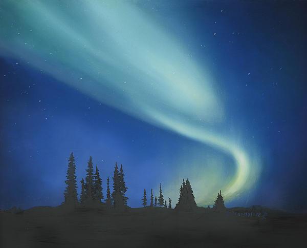 Blue Green Aurora Borealis Print by Cecilia  Brendel