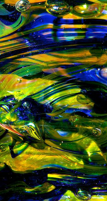 Blue Green Glass Macro Print by David Patterson