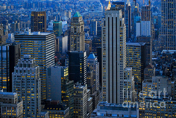 Blue Hour In New York City Usa Print by Sabine Jacobs