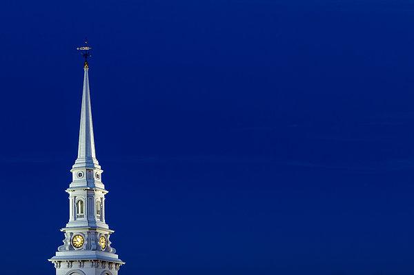 Blue Hour Steeple Print by Jeff Sinon