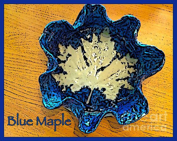 Blue Maple Leaf Dish 2 Print by Joan-Violet Stretch