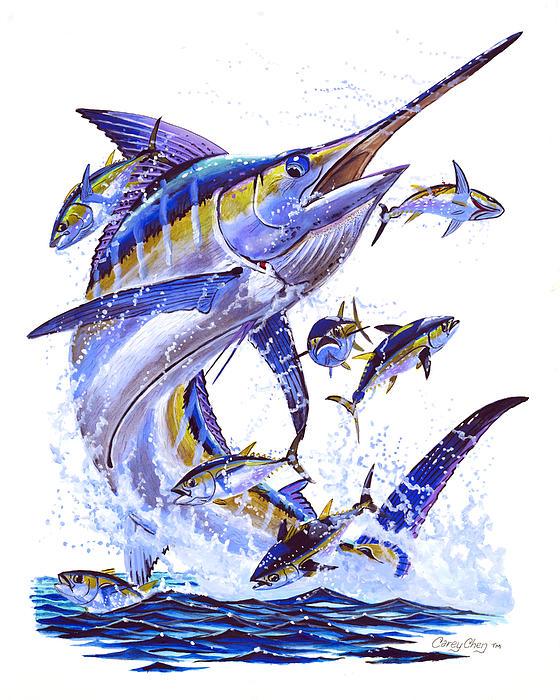 Blue Marlin Print by Carey Chen