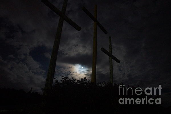 Blue-moon Lights Crosses Of Mercy Print by Timbo Connard