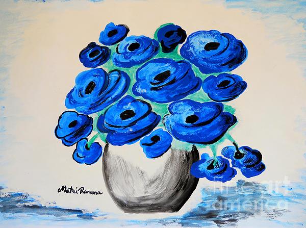 Blue Poppies Print by Ramona Matei