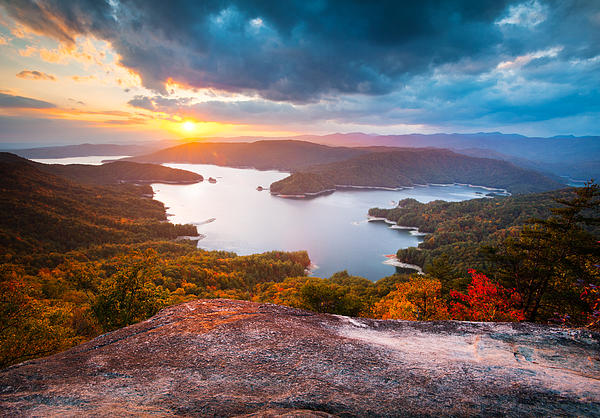Blue Ridge Mountains Sunset - Lake Jocassee Gold Print by Dave Allen