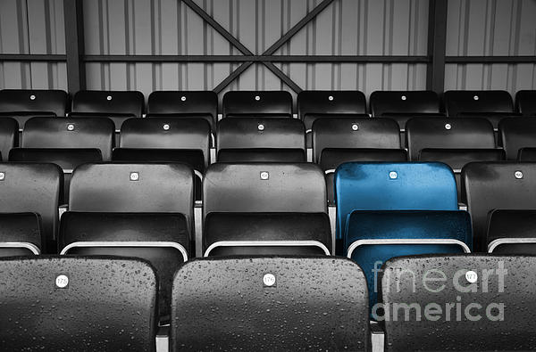 Blue Seat In The Football Stand Print by Natalie Kinnear