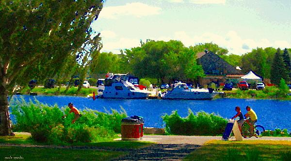 Blue Skies Boats And Bikes Montreal Summer Scene The Lachine Canal Seascape Art Carole Spandau Print by Carole Spandau