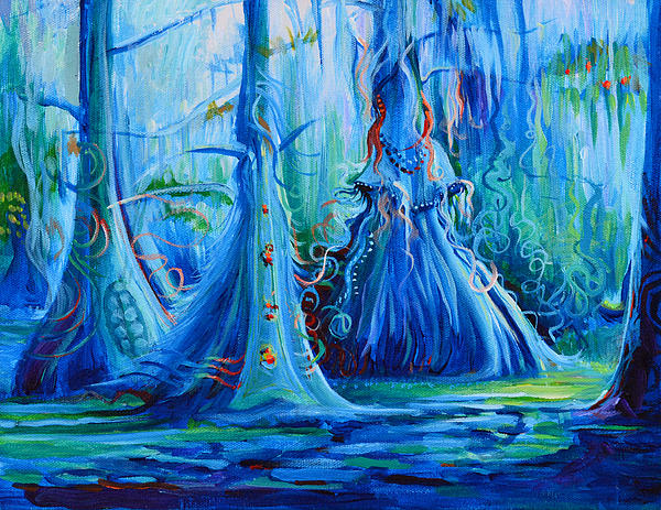 Blue Spirit Trees Print by Janet Oh
